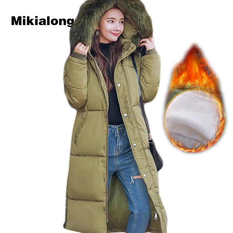 Mikialong 2017 Thicken Fur Collar Winter Coat Women Parka Femme Fashion Outwear Overcoat Women Long Down Jacket Abrigo Mujer super women lady thicken warm winter coat hood parka overcoat long outwear jacket