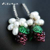 Aitunan Natural Pearl Earrings 925 Sterling Silver Drop Earrings Jewelry Purple Grapes Fresh Earring Handmade Fashion