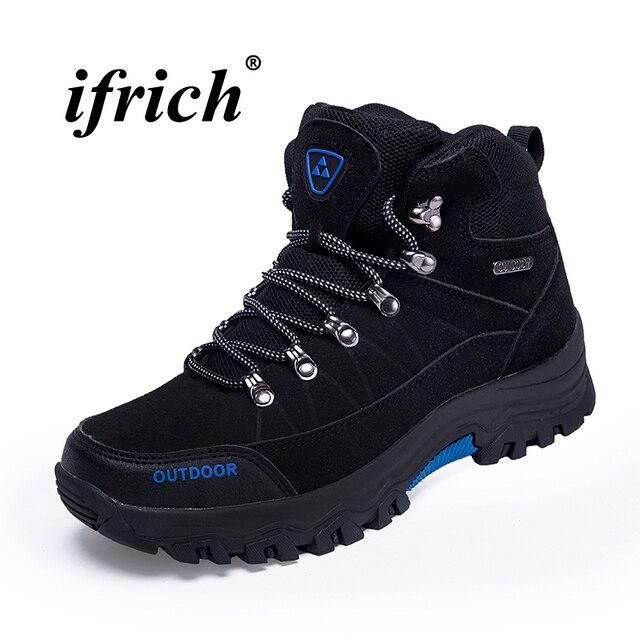 Высокие кроссовки для мужские черные Армейский зеленый человек Пеший Туризм сапоги плюс Размеры 39–46 горные ботинки спортивные осень-зима треккинговые ботинки