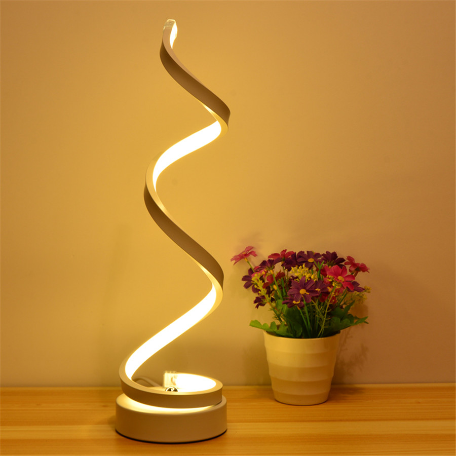 Thrisdar Modern Minimalist Spiral Shape Table Light Bedroom Beside Acrylic Desk Table Lamps Study Reading Table