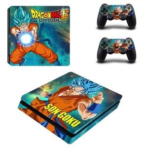 Image 1 - Anime Dragon Ball Super Z Goku naklejka na kontroler do PS4 naklejka na konsolę Sony PlayStation 4 i kontrolery naklejka naklejka PS4 Slim winylu