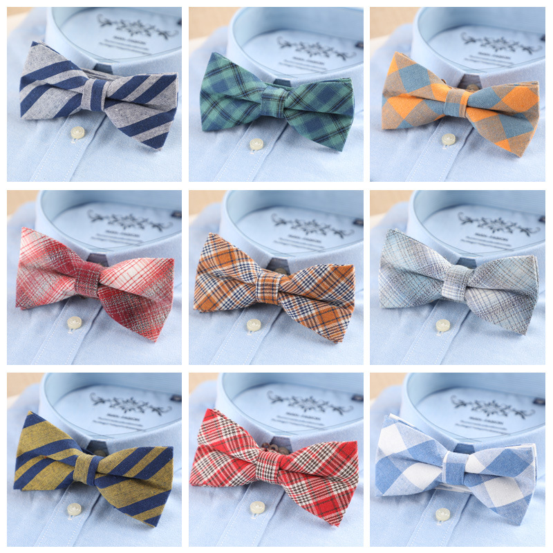Brand New Mens Fashion Bright Bowtie Check 100% Cotton Soft Striped Double Fracture Butterfly Men Bow Ties Designer Cravat