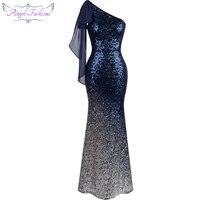Angel Fashions One Shoulder Ribbon Chiffon Draped Sequin Mermaid Long Dress Gradient Ramp