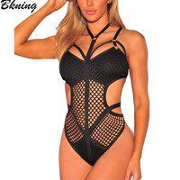 2017 Cut Out Women Swimsuit One Piece Swimwear Bandage Swim Suit Sexy Mesh Monokini Push Up