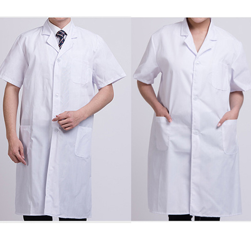 Summer Unisex White Lab Coat Short Sleeve Pockets Uniform Work Wear Doctor Nurse Clothing KNG88