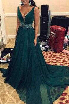 Dark Green Chiffon Evening Dress Elegant Sweep Train Beading Waist A Line Long Formal Dresses Custom Made Women Prom Gowns
