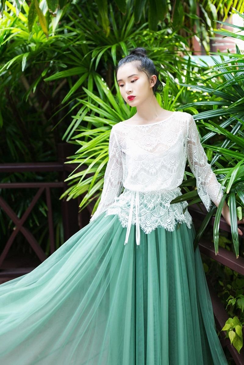 IRINAW619 nieuwe collectie zomer 2018 driekwart mouw vintage witte wimper kant top vrouwen shirt - 6