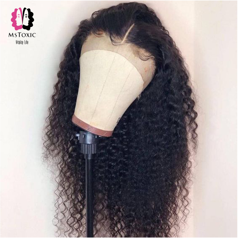 Mstoxic Lace Front Human Hair Wigs Pre Plucked Brazilian Kinky Curly Lace Front Wig With Baby