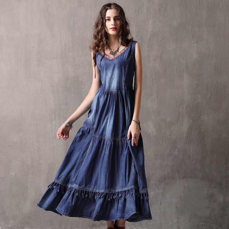 2018 Summer Denim Dress Women Sleeveless V-neck Lace embroidery A-line  Cotton Blue 495378b5fa7f