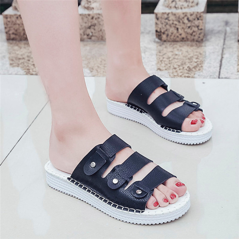 Fashion slippers Summer Shoes flip flops Open Toe PU Leather Casual Beach Shoes Chic Women's Flat Slippers pantufa zapatillas wholesale 5 woman foam open toe backless flip flops shoes slippers 1 pair