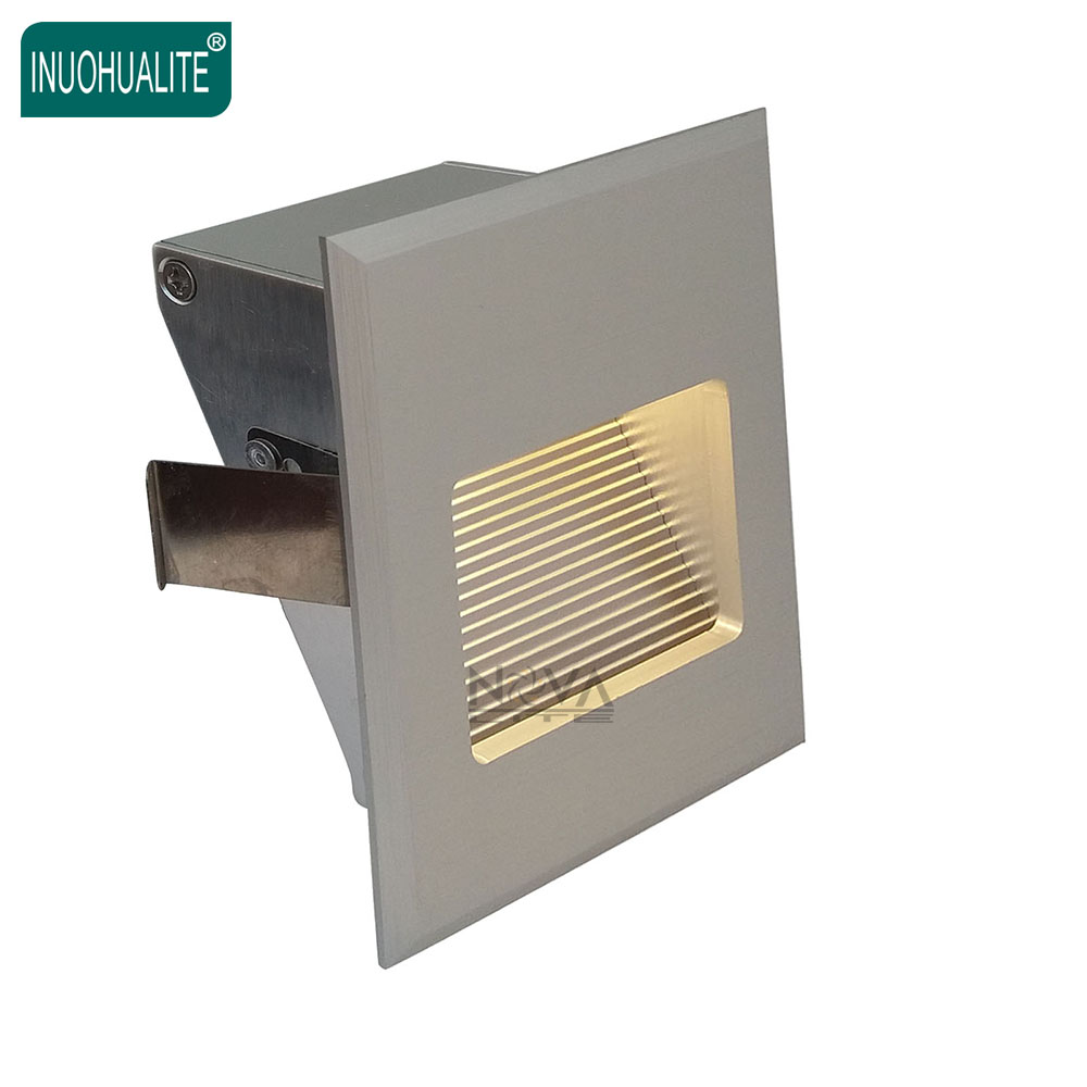 4pcs AC100 to AC240V Square Aluminum Brushed Concrete Wall Recessed Lamp led foot light 1W 3W