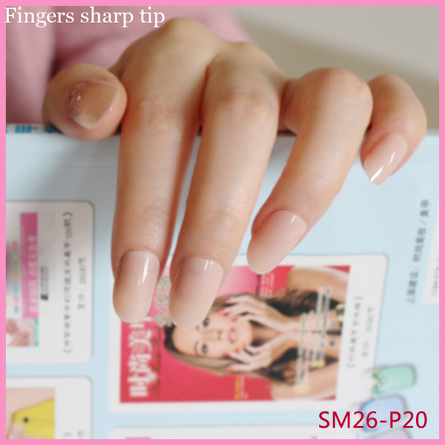 24Pcs Sweet Fashionable Long Round Head Nude Color Fake Nails Candy ...
