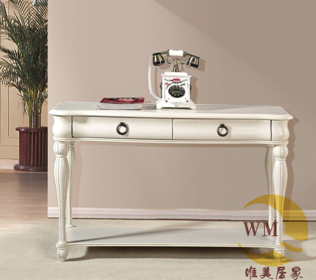 European And American White Wood Console Table Telephone Desk