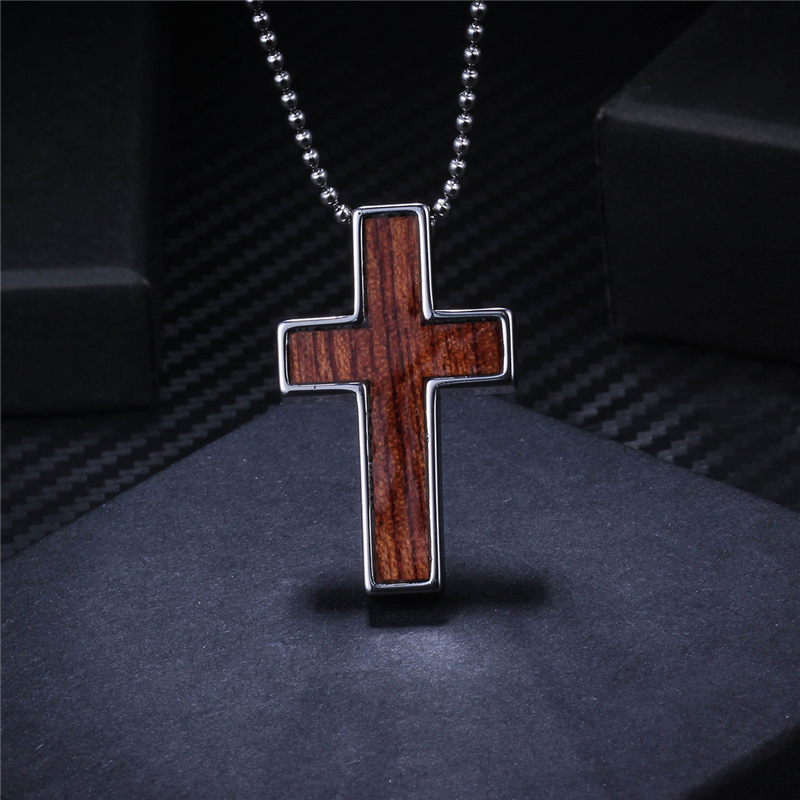 New natural wood design tungsten cross necklace pendant christmas new natural wood design tungsten cross necklace pendant christmas gift for men stainless steel choker chain in pendant necklaces from jewelry aloadofball Image collections