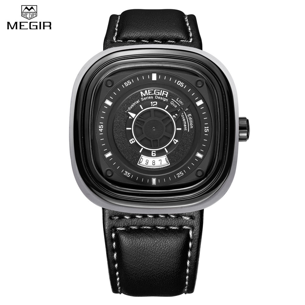 Relogio Masculino Mens Watches Top Brand Luxury MEGIR Men Military Sport Square Dial Wristwatch Clock Men Leather Quartz Watch men watch relogio masculino top brand luxury leather military watches clock men quartz watches relojes hombre wristwatch lsb1437