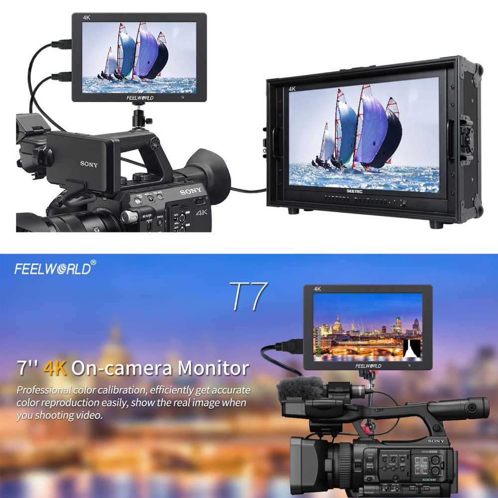 Feelworld T7 4K HDMI Input/Output On-Camera Monitor Full HD 7IPS Screen Display,Aluminum Metal Frame Monitor for Camera/Video sky 708 40ch 7 monitor hdmi input and diversity rx dvr ppm function