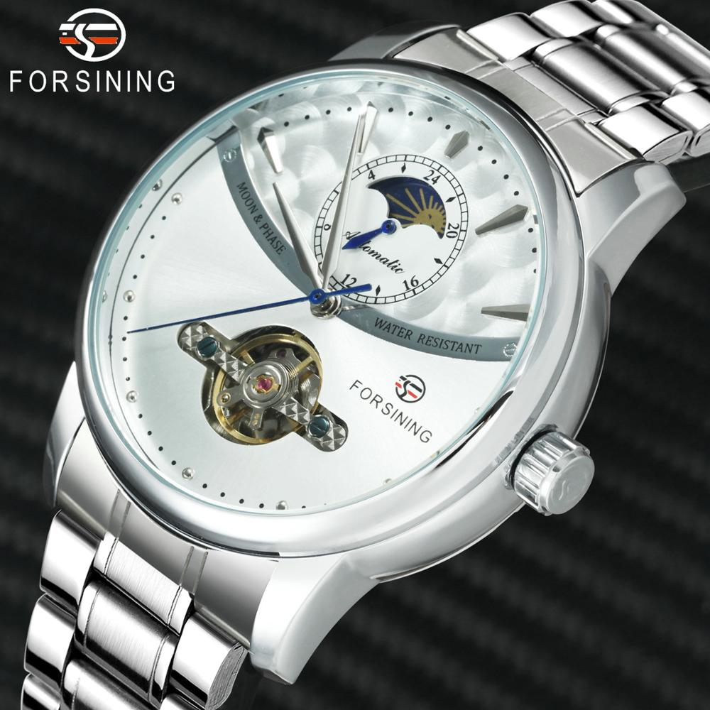 FORSINING Automatic Mechanical Watches Men Sun Moon Skeleton Dial Stainless Steel Strap Luxury Brand Man Watch 2019 Dress ClockFORSINING Automatic Mechanical Watches Men Sun Moon Skeleton Dial Stainless Steel Strap Luxury Brand Man Watch 2019 Dress Clock