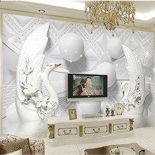 beibehang Custom wallpaper 3d photo mural luxury European Swan soft ball 3D TV background wall papers home decor papel de parede(China)