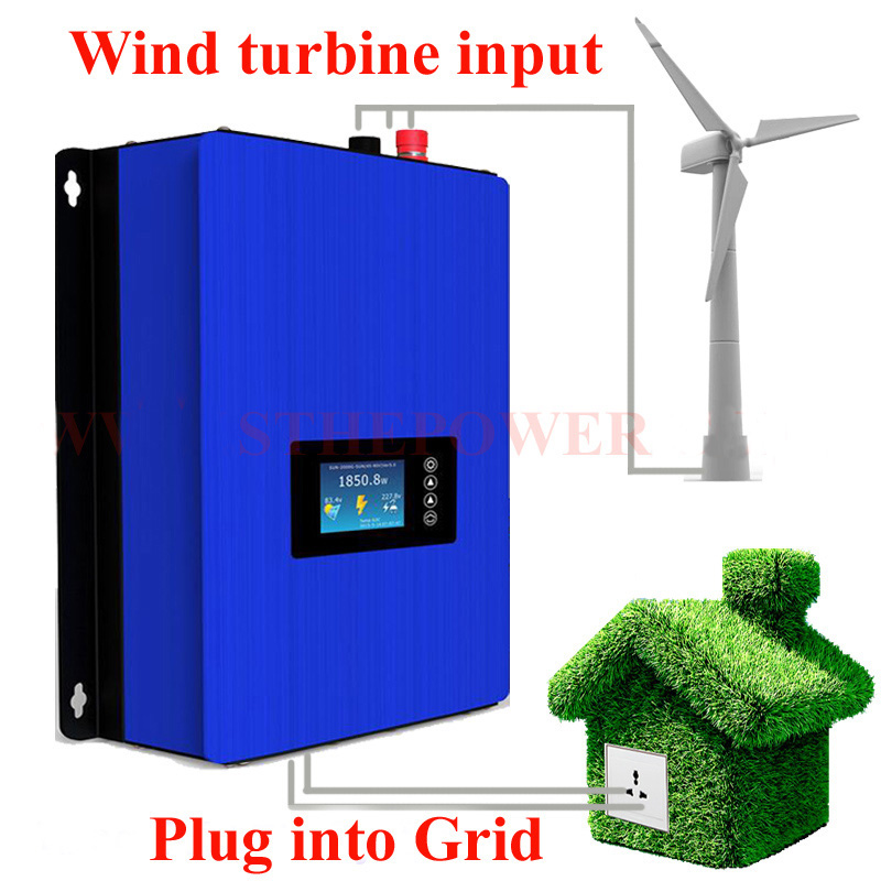 AC 24V 48V 72V 3 phase eingang zu 220V 230V ausgang wind grid tie inverter dump last mppt 1000W wifi stecker und inter limiter sensor