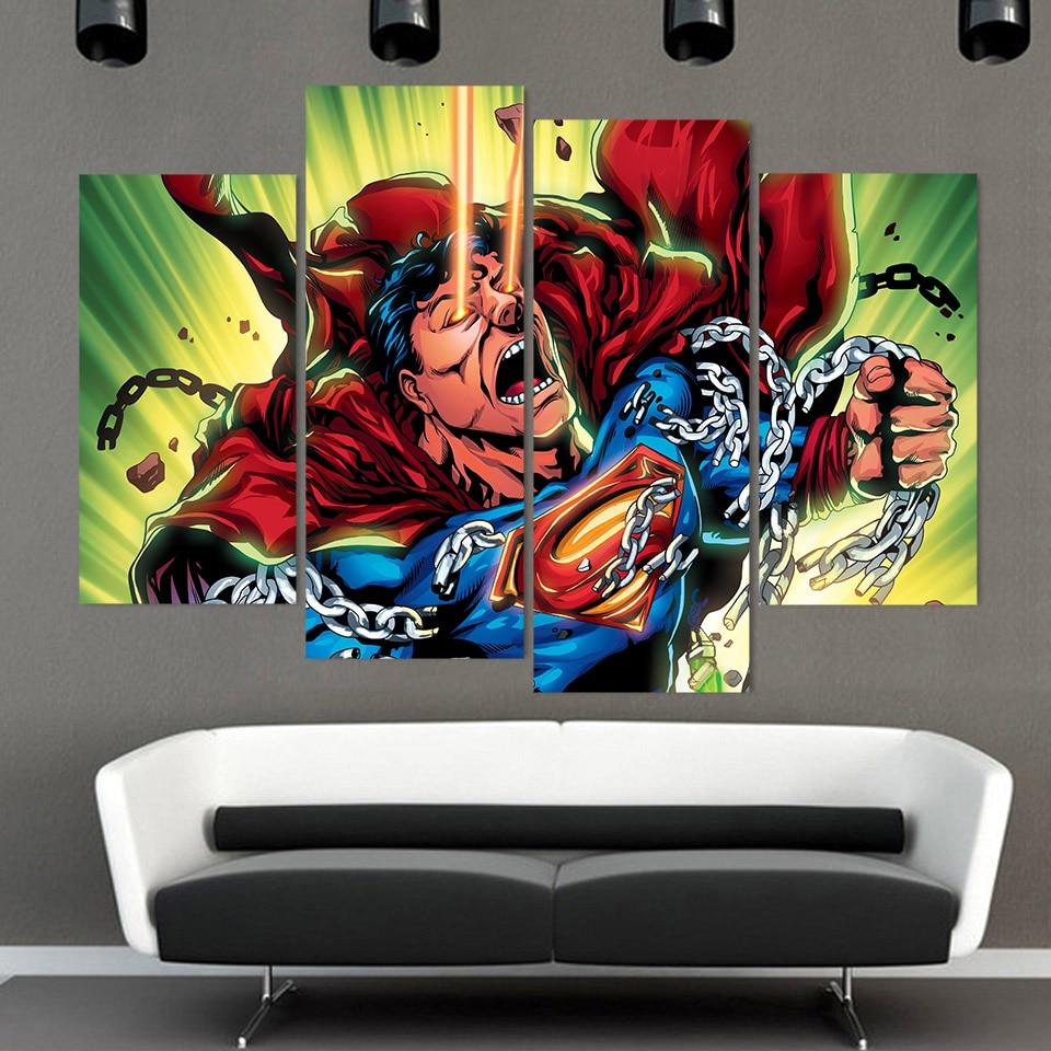 4 Teile/satz Gerahmte HD Gedruckt Superman Brechen Kette Bild ...