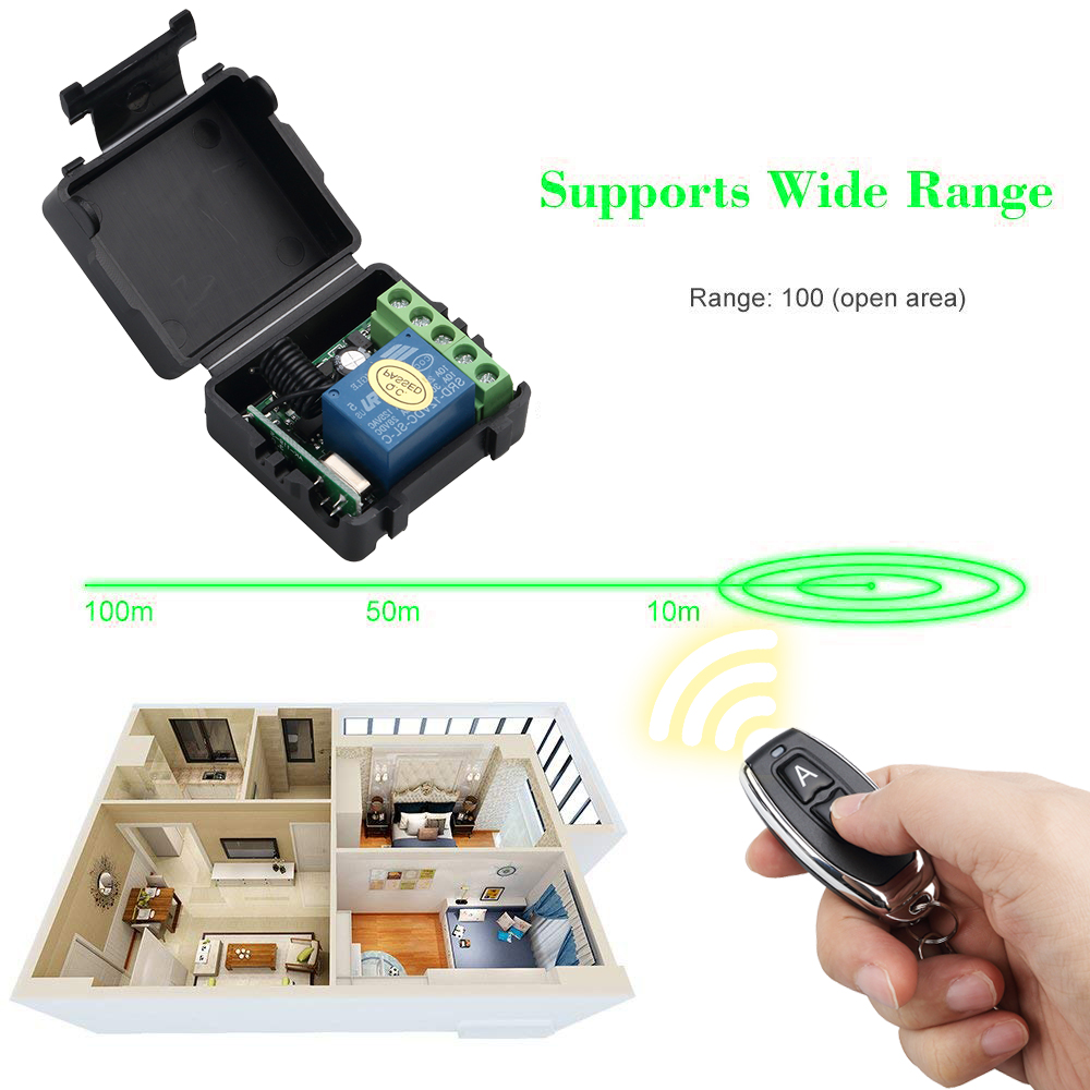kebidu 1Pc RF Transmitter 433 Mhz Remote Controls with Wireless Remote Control Switch DC 12V 1CH relay Receiver Module 3