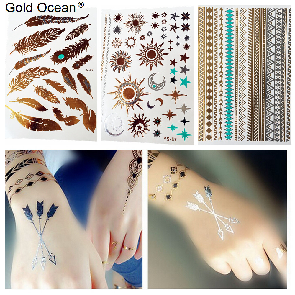 Online Shop 3 Pieces Lot Hot Waterproof Fake Gold Tattoos Feather