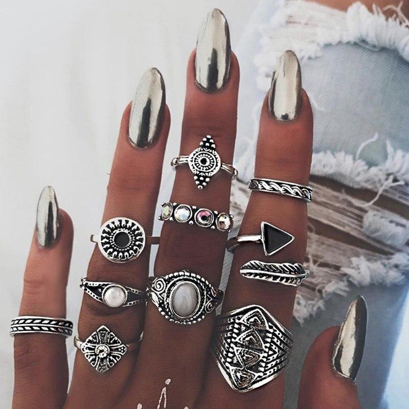 2019 Nieuwste Ontwerp Vintage Bohemen Ringen Vrouwen Boho Geometrische Bloem Crystal Ring Set Kroon Gesneden Vinger Sieraden Bague Anillos Mujer Festival V011 Duidelijke Textuur
