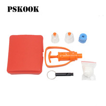 PSKOOK Outdoor Survival Whistle Kit Travel Snake Spider Bite Rescue Tools Venom Extractor Poison First Aid Emergency Medical