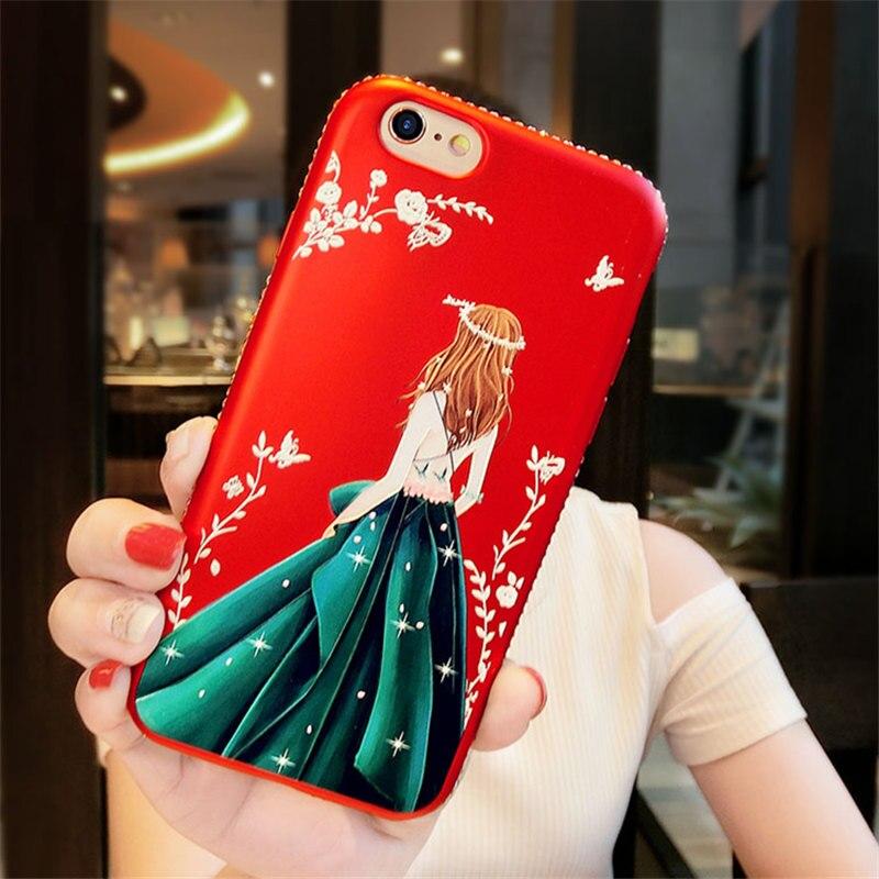For iPhone 5 5S 6 6S 7 8 Plus X For Samsung S8 Plus Fashion glitter Bling Rhinestone Beautiful girl goddess soft phone case
