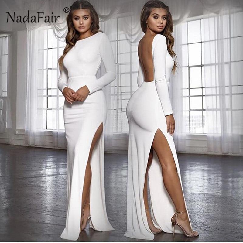 Nadafair Backless Sexy Party Dress Vestidos Long Sleeve High Side Split Bodycon Maxi Dress Women White Black Elegant Long Dress