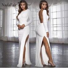 Nadafair, сексуальное вечернее платье с открытой спиной, vestidos, с длинным рукавом, с разрезом сбоку, облегающее платье макси, женское белое, черное, Элегантное Длинное Платье