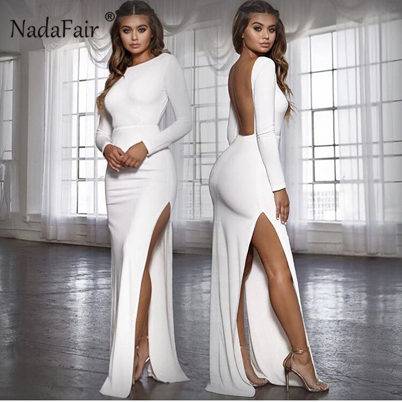 Nadafair Backless <font><b>Sexy</b></font> Party <font><b>Dress</b></font> Vestidos Long Sleeve High Side Split Bodycon Maxi <font><b>Dress</b></font> Women White <font><b>Black</b></font> Elegant Long <font><b>Dress</b></font> image