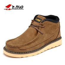 Z. suo 2017 Лидер продаж модный бренд Для Мужчин's осень-зима из коровьей замши Высокая Повседневная обувь Человек Открытый Кружево до Вышивание Обувь ZS020