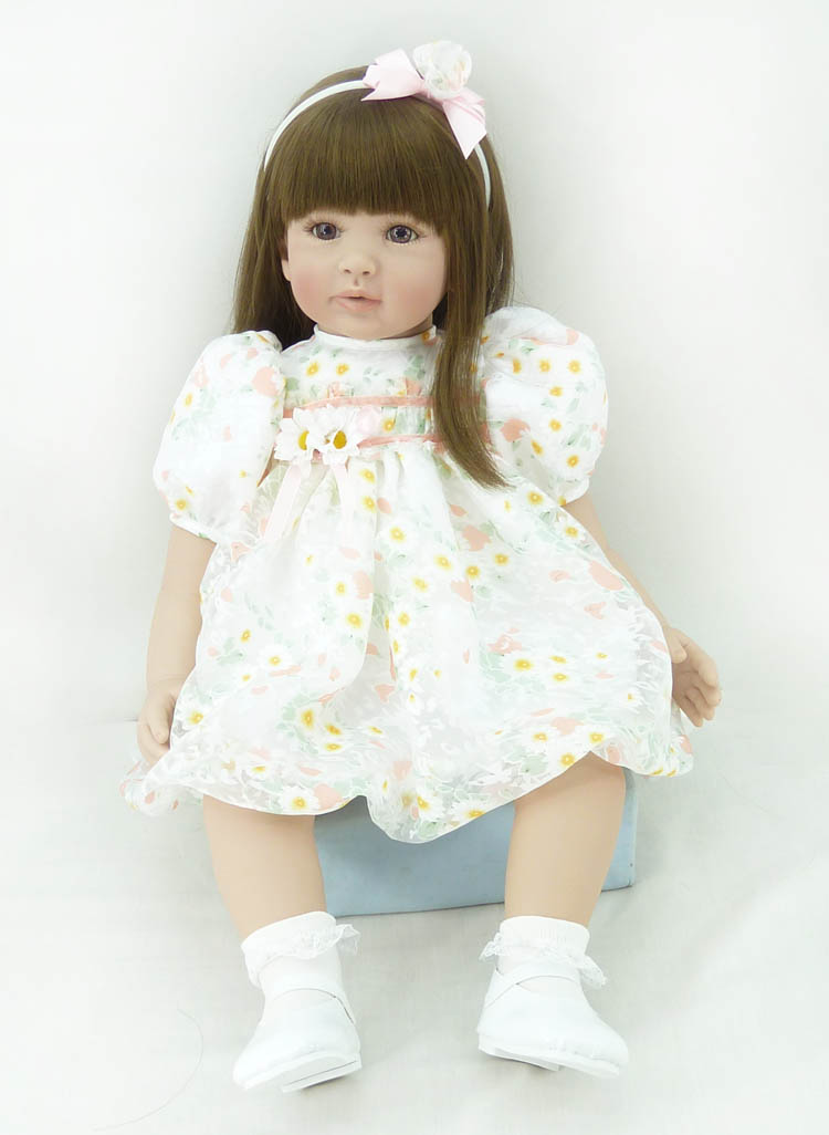 60cm Soft Silicone Vinyl Reborn Baby Doll toys brinquedos lovely Accompany Sleep Baby Doll for child New Year gifts npkcollection55cm soft silicone newborn baby doll with eyes closed simulation to accompany sleep toys silicone reborn baby doll