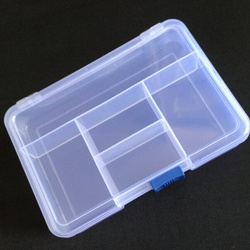 1pc Transparent Plastic 5 Compartment Storage Box Earring Ring Jewelry Bin Bead Case Container A826