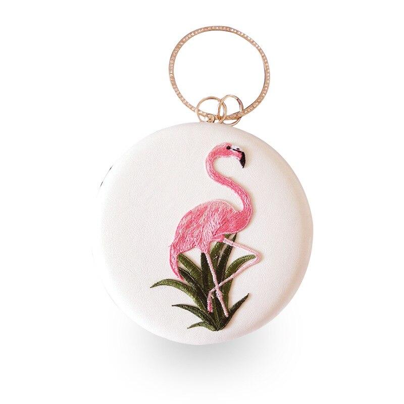 Circle Metal Frame Lady Evening Handbags Flamingo Pattern Cartoon Girls Purse Clutches Chain Small Mini Crossbody Cross Body Bag