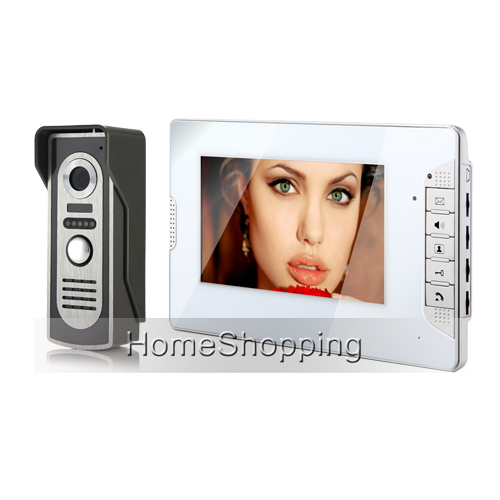 FREE SHIPPING Wired 7 TFT Video Intercom Door Phone System 1 White Monitor 1 Night Vision Doorbell Camera In Stock Wholesale brand new wired 9 inch lcd tft video intercom door phone system night vision outdoor camera two white screens free shipping