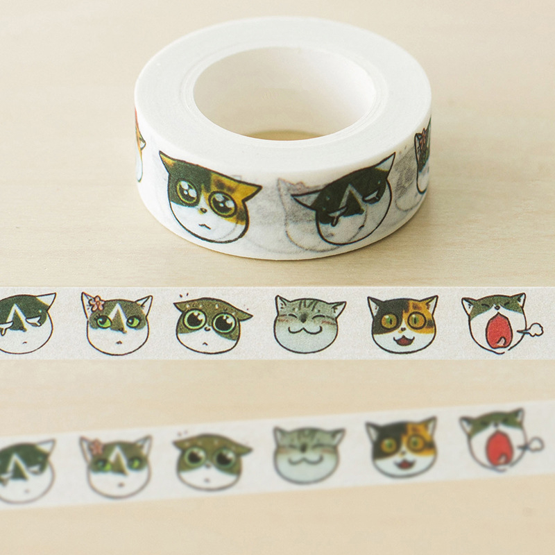 Harphia Masking DIY Tape Cat Face Cute Paper Washi Masking Scrapbooking Tools School Supplies Washi Tape Lovely