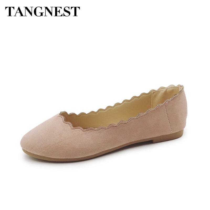 Tangnest Candy Color Women Ballet Flats Slip On Round Toe Women Loafers Soft PU Leather Breathable Women Boat Shoes XWD6484 summer slip ons 45 46 9 women shoes for dancing pointed toe flats ballet ladies loafers soft sole low top gold silver black pink