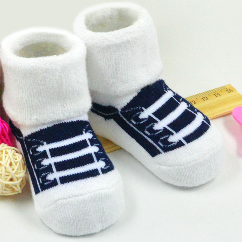 Hot Sale Fashion Cute Shoe Lacing Pattern Socks 1 Pair Infant Newborn Socks 100% Cotton Sock Baby Non-slip Suitable 3M-3 Year