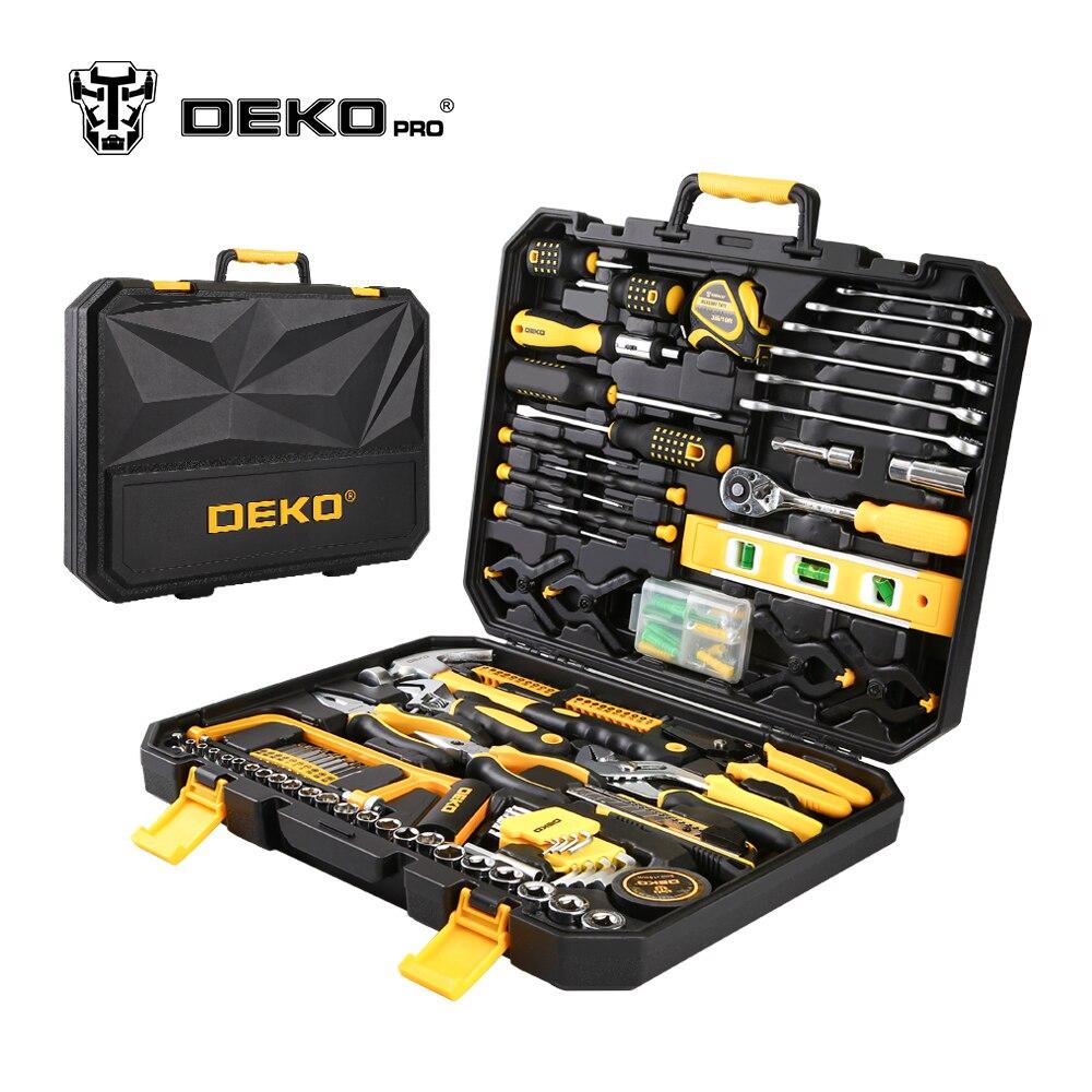 DEKOPRO 168 stücke Hand Tool Set Allgemeine Haushalt Hand Tool Kit mit Kunststoff Toolbox Lagerung Fall Steckschlüssel Schraubendreher Messer