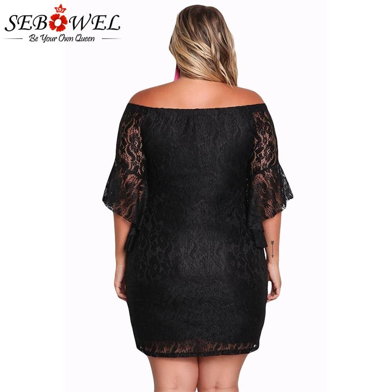 SEBOWEL Plus Size Black Lace Party Dress Women 2017 Sexy Off Shoulder Half  Sleeve Short Dresses Femme Bodycon Vestido XL XXXL-in Dresses from Women s  ... ea842a6bd423