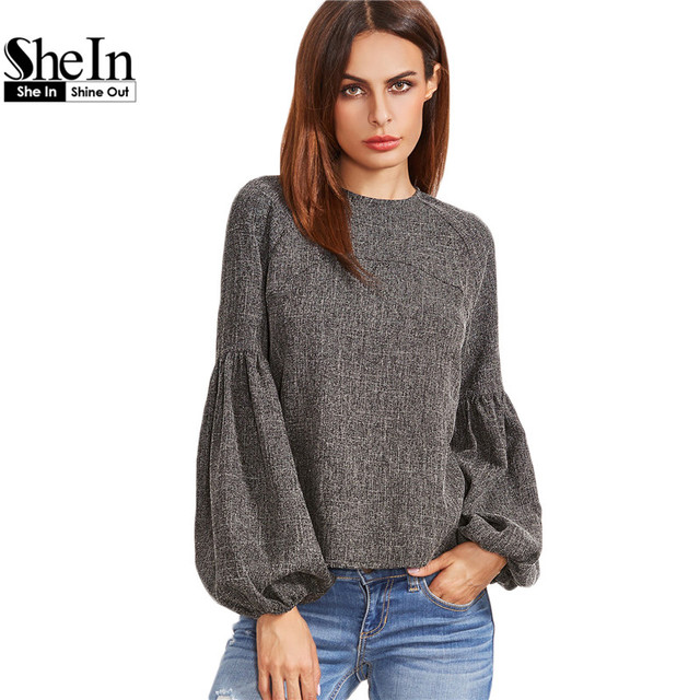 647b709637 SheIn Women Tops and Blouses New Fashion Women Shirt Ladies Tops Grey  Keyhole Back Lantern Sleeve. Mouse over to zoom in