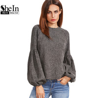 SheIn Women Tops And Blouses New Fashion Women Shirt Ladies Tops Grey Keyhole Back Lantern Sleeve