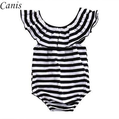 bd35ad6a7 Newborn Infant Baby Girl Romper Striped Off Shoulder Jumpsuit ...