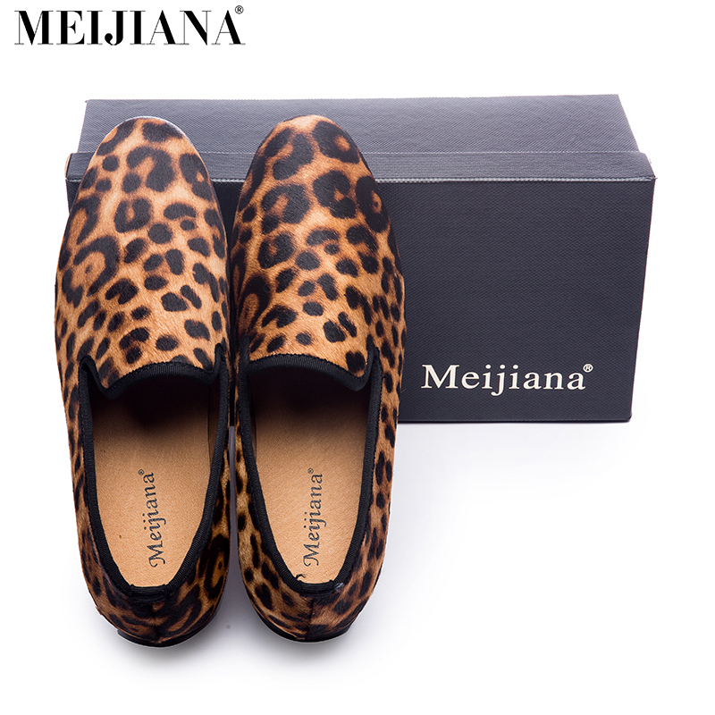 New Handmade Leopard Men Red Bottom Loafers Gentleman Luxury Fashion Stress Shoes Party sequin shoes Men Casual Shoes