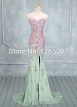 2014 Sweetheart Pink Rhinestones Beaded Diamond Green Mermaid Long Prom Dress Special Occasion Gowns