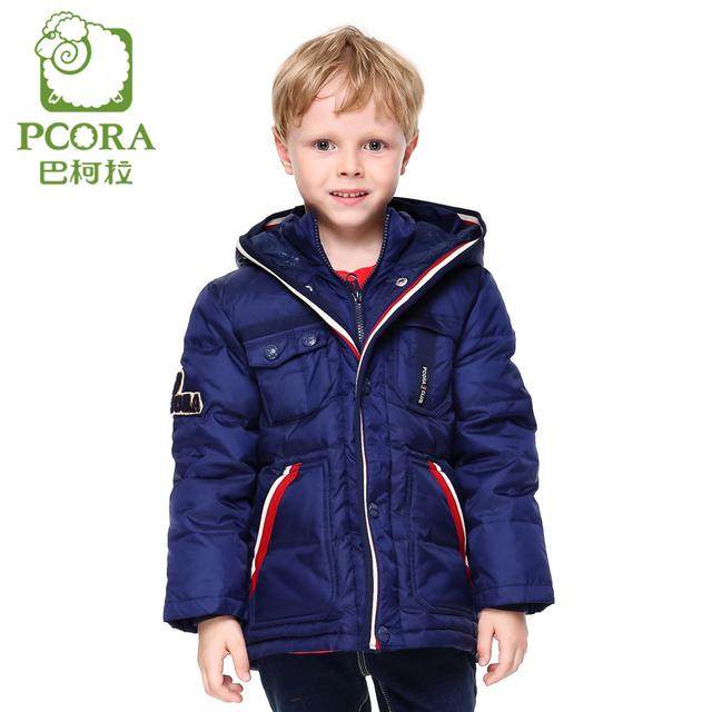 Pcora niños abajo abrigo de invierno caliente grueso de down con capucha bolsillos con cremallera rojo y azul marino 3 t ~ 14 t de la moda muchachos de los niños de ropa