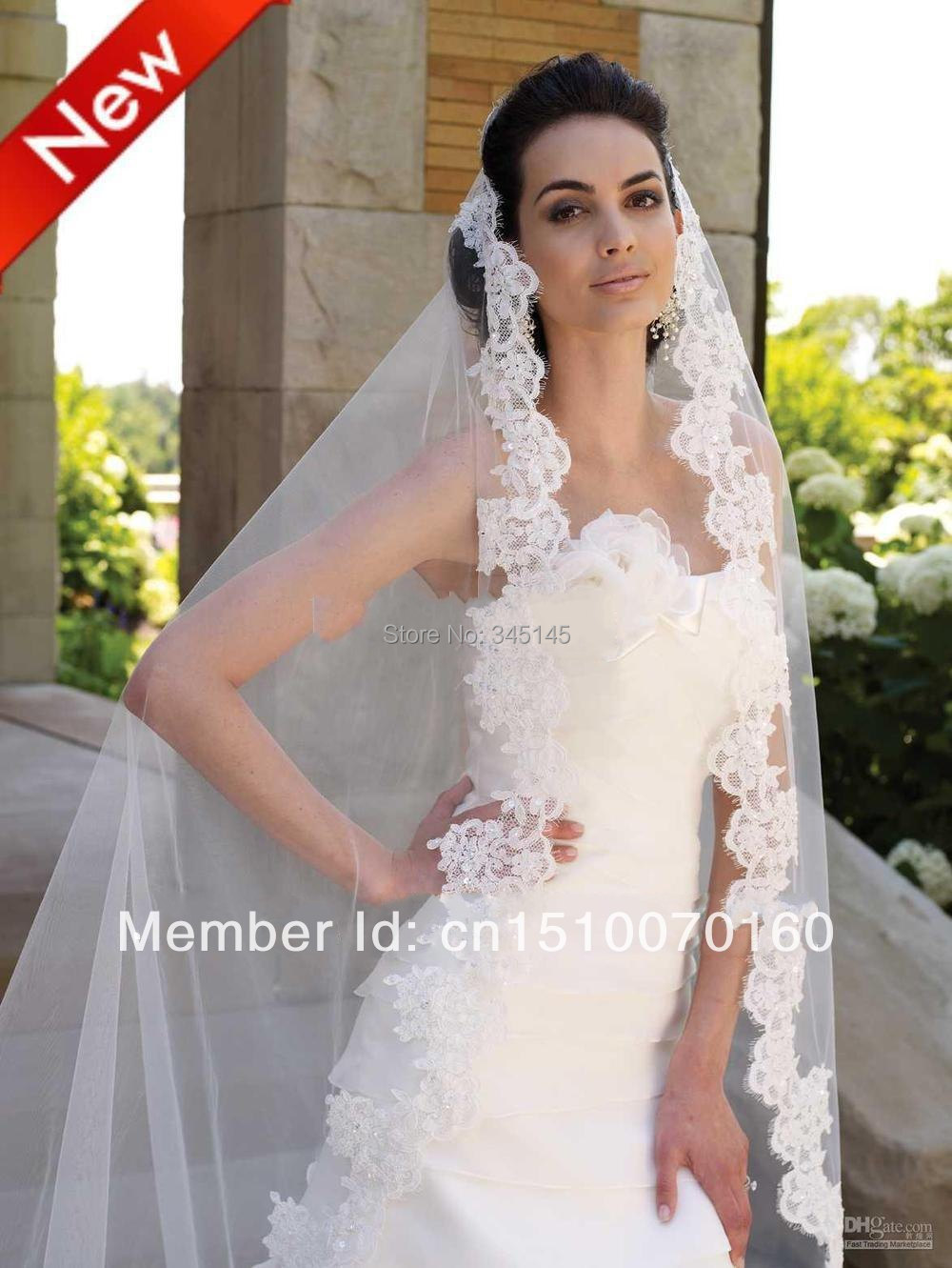 021275c9dcc7 Cathedral Cut Ivory White 3M 1T Long Wide Lace Purfle Beaded Bridal Veils  Tulle Wedding Dress Veil Custom Bridal Veils Mantilla-in Bridal Veils from  ...
