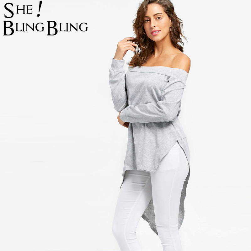 SheBlingBling Off The Shoulder Long Tops Spring Fashion Long Sleeve Asymmetric Split Hem Women Casual T-Shirts